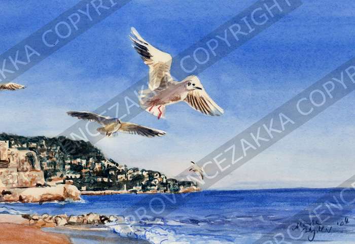 Nice, Baie des Anges & Seagull, French water color, signed print
