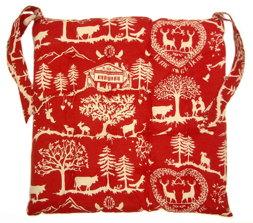 Provence Seat Pad with ties (Home Sweet Home. red)