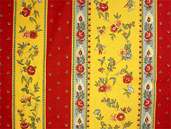 Provence Fabric (floral roses x red yellow, striped)
