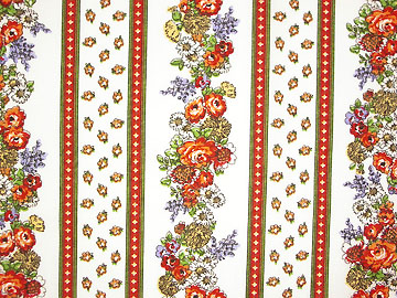 Provence Fabric (floral white x red, striped)