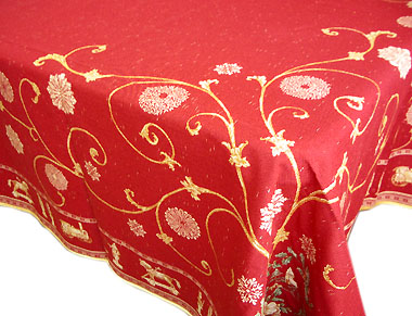 French Jacquard Tablecloth Montagne Noel Red Gold