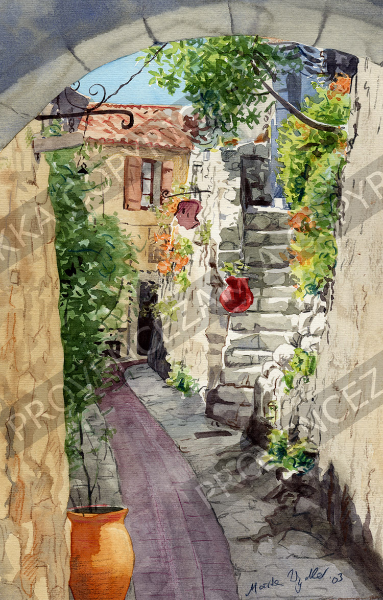 Eze alley, France, water color painting, signed print