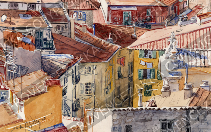 Nice, Old Nice roofs. French water color painting, signed print