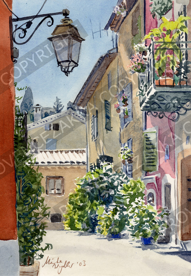 Valbonne, France, water color painting, signed print