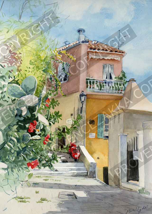 Villefranche, France, water color painting, signed print