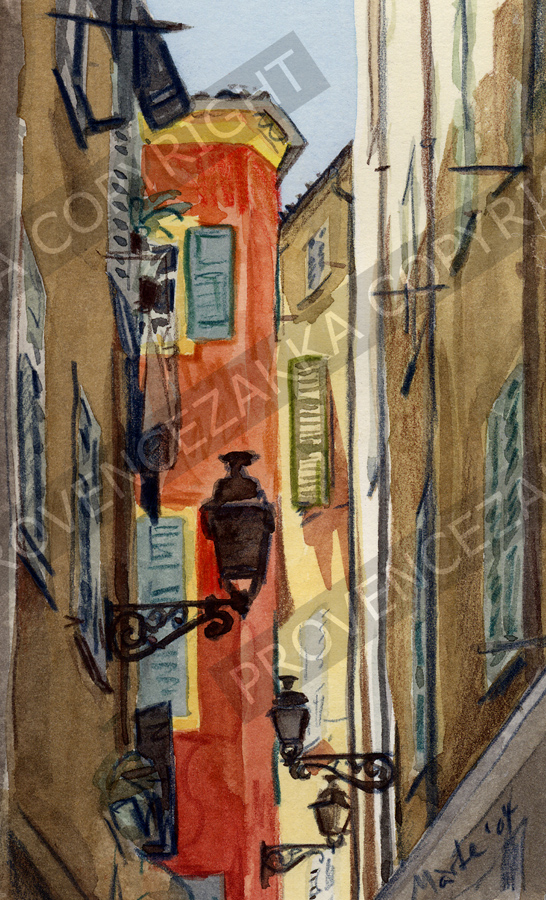 Old Nice, back street, water color painting, signed print