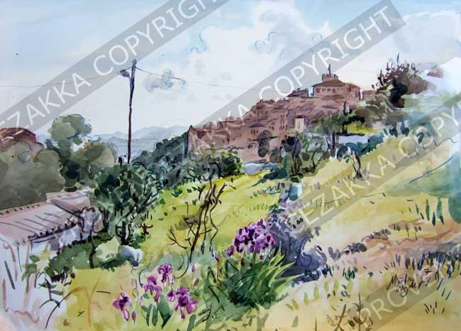 Provence Tourette sur Loup violet festival water color print limited edition