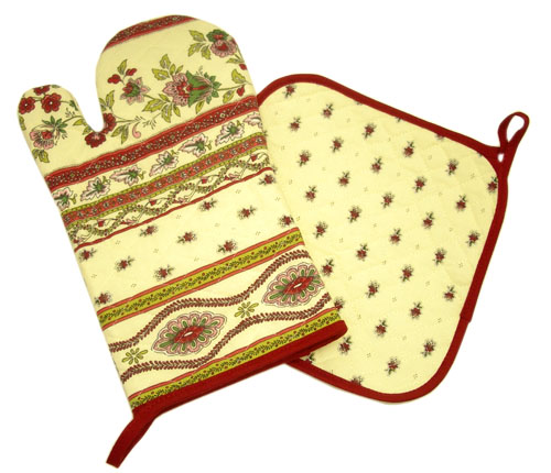 Oven glove & Square Pot Holder Set (Marat Avignon / Avignon. raw