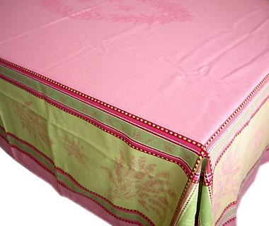 French Jacquard Tablecloth, Teflon(Senanque. Pink Roses X Green)