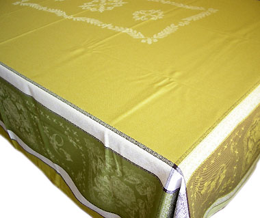 French Jacquard tablecloth, Teflon (Monogramme. green)