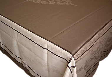 French Jacquard tablecloth, Teflon (Montmirail. taupe)