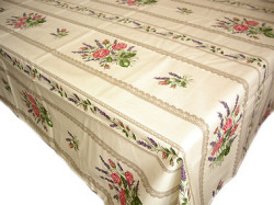 French coated tablecloth (Roses. lavender x raw)