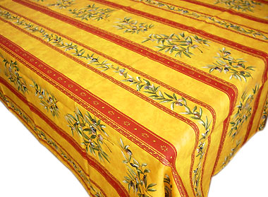 French coated tablecloth (olives 2009. orange x yellow)