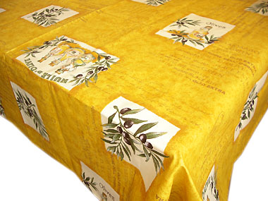 Coated tablecloth (olives Les Baux. mustard yellow)