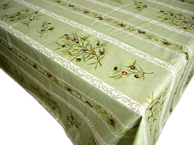 French coated tablecloth, linear (olives. mint green)