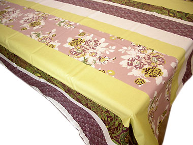 French coated tablecloth (flowers. taupe × tilleul)