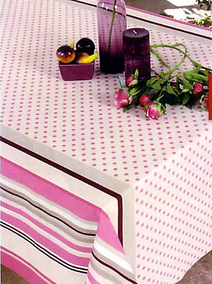 French Basque tablecloth, coated (Biarritz pois-rayure. pink)