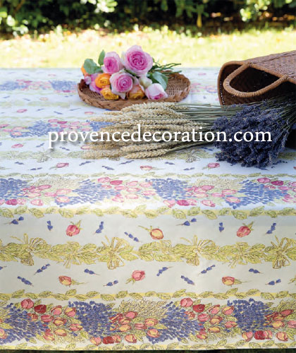 Coated tablecloth (Lavender & roses. raw)