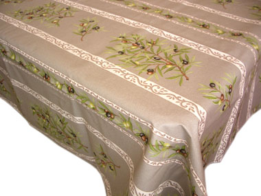 Coated tablecloth (olives 05. taupe)
