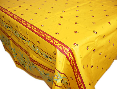 French coated tablecloth (Ramatuelle. Yellow-red)