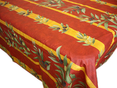 French coated tablecloth, linear (olives. red)