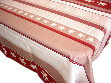 French coated tablecloth (Cristaux , red)