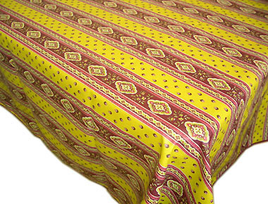 French coated tablecloth, linear (Esterel. absinthe)