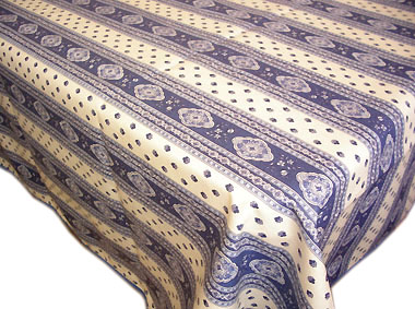 French coated tablecloth, linear (Esterel. raw/blue)