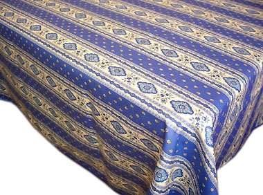 French coated tablecloth, linear (Esterel. blue)