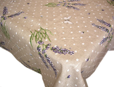 Coated Linen Tablecloth (Le temps des Lavandes. natural)