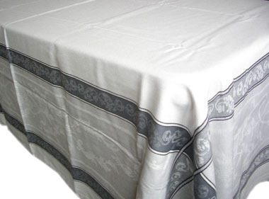 French Jacquard tablecloth, Teflon (Montmirail. raw/gray)