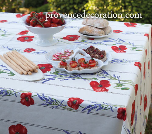 French coated tablecloth, linear (Coquelicots Lavandes 3 colors)