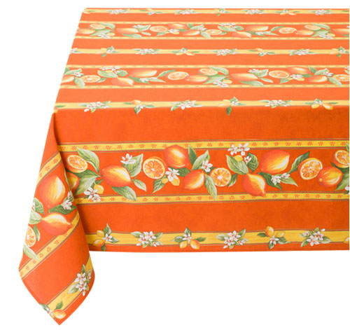French coated tablecloth, linear (Menton, lemons. orange)