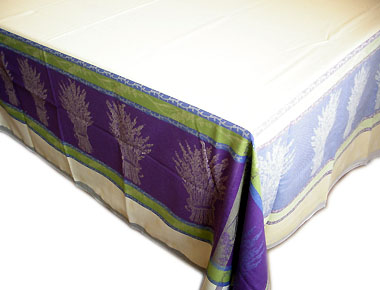 French Jacquard tablecloth, Teflon (Lavender. blue-beige)