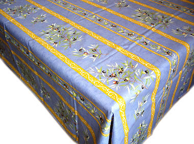 French coated tablecloth, linear (olives. blue)