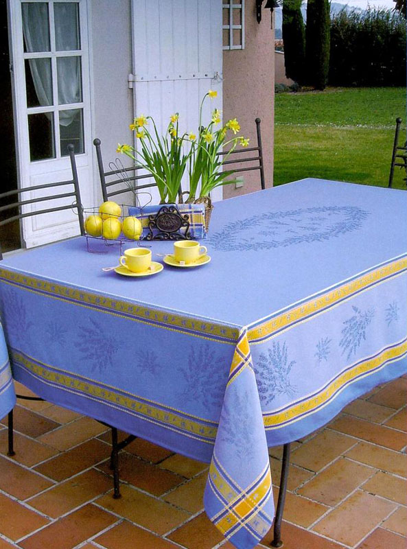 French Jacquard tablecloth, Teflon (Senanques. Blue)
