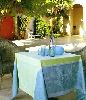 French Jacquard Tablecloth Teflon(Brignoles. Light Green X Blue)
