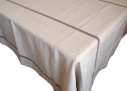 French Linen Tablecloth (hemp × chocolat)