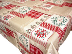 Coated tablecloth (Christmas Auron. red)