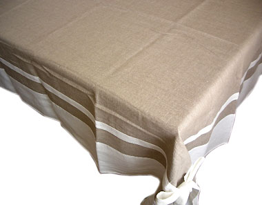 French Linen Tablecloth (Deco. hemp × white)