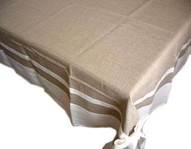 French Linen Tablecloth (Deco. Hemp Ãu2014 White)