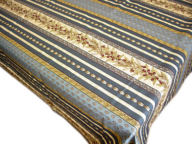 French non coated tablecloth (olives tamaris. blue)