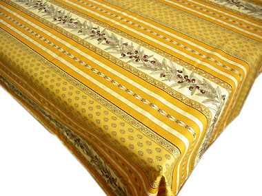 French coated tablecloth (olives tamaris sunflowers. yellow)
