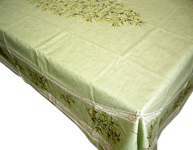French coated tablecloth (olives 2005. mint green)