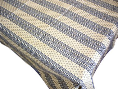 French coated tablecloth (Ste Lucie. raw x blue)