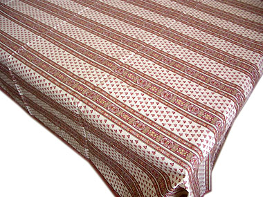 French coated tablecloth (Ste Lucie. raw x bordeaux)