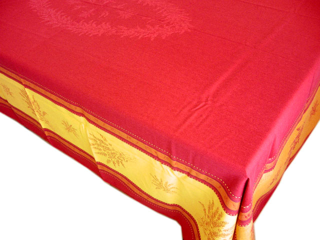 French Jacquard tablecloth, Teflon (Senanque. bordeaux x yellow)