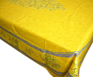 French coated tablecloth (olives 2005. yellow x blue)