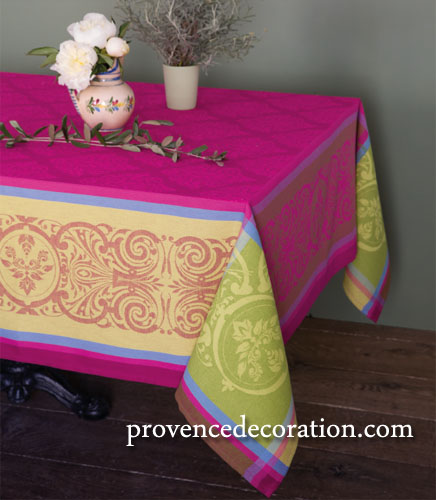 French Jacquard tablecloth, Teflon (Prestige. Rose)