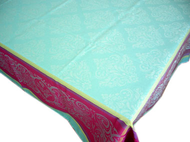 French Jacquard tablecloth, Teflon (Prestige. Turquoise)